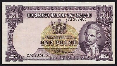 New Zealand 1 Pound Banknote 1956-67 R N Fleming With Security Thread P-159d