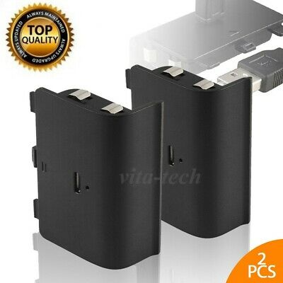 2X Rechargeable Battery Pack Charging USB Cable for Xbox One Controller 1200mAh