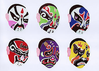 Chinese Paper Cuts Opera Mask Set C 10 colorful small pieces