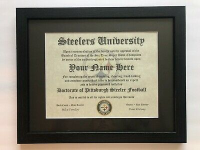 Pittsburgh Steelers NFL #1 Fan Certificate Man Cave Diploma Perfect Gift