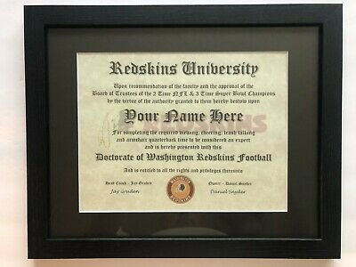 Washington Redskins NFL #1 Fan Certificate Man Cave Diploma Perfect Gift