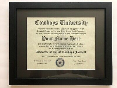 Dallas Cowboys NFL #1 Fan Certificate Man Cave Diploma Perfect Gift