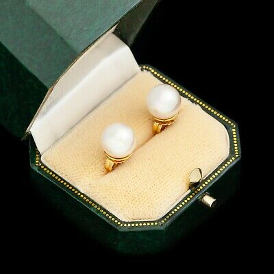 Antique Vintage Art Deco Sterling Silver Yellow Gold Faux Pearl Stud Earrings