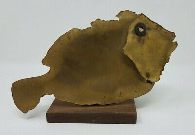 Brass Fish Sculpture on a Wooden Base  **FREE SHIPPING**