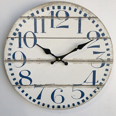 34cm White Plank Look Wall Clock/French Provincial/Hampton's/Blue