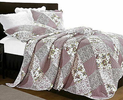 Patchwork Quilted Comfy Bedspread Embroidered Bed Throw Orchid Super King Size