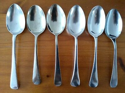 6 x Old English Silver Plated Hallmarked Antique OR Steel Spoons (Set O)