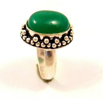 Charming Green Jade Silver Designer Jewelry Ring Size 7.25 JC6246