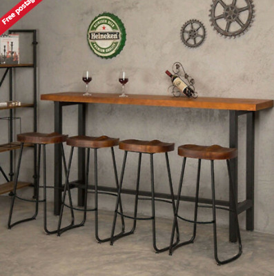2PCS Cafe Bar High Stools Metal Vintage Backless Pub Counter Chair Seats