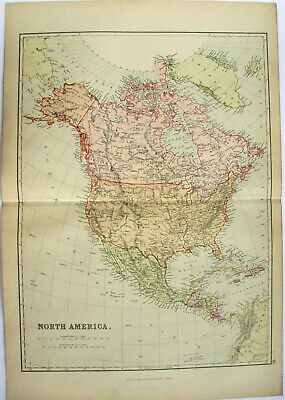 Original 1882 Map of North America by Blackie & Son. Antique. USA