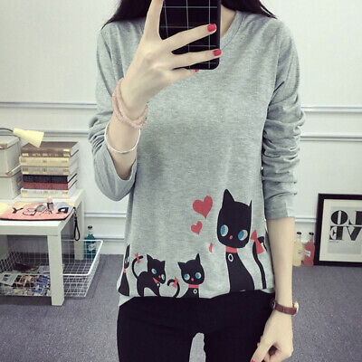 Womens Long Sleeve Cat Print Blouse Ladies Fall T-shirt Tee Loose Casual Tops