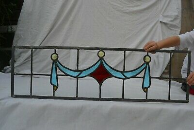 C02. Traditional leaded light stained glass window door panel made new your size