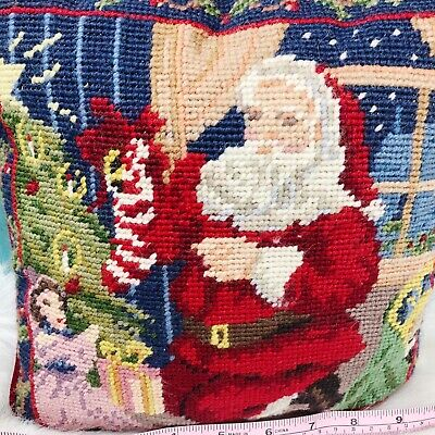 """Vtg Hand Crafted Needlepoint Santa Claus Throw Pillow Red Back Decor 9"""" Square"""