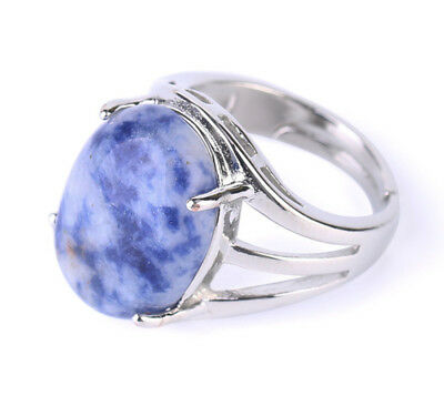R055F Ring Silver Plated with Sodalite Blue Oval Adjustable Size