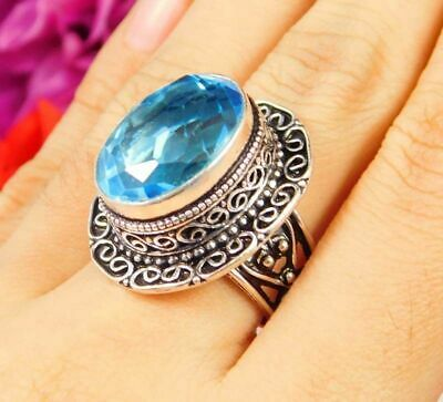 Lovely Swiss Blue Topaz Silver Hand Carving Jewelry Ring Size 7.75 JC3074