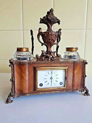 Rare Moser Paris Bronze and Walnut case Striking Carriage Clock With Ink Stands