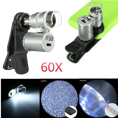 Universal 60X Cell Phone Camera Microscope Jewelry Magnifier Loupe LED Light