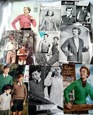 12 x Vintage Knitting Patterns 1940's to 1950's