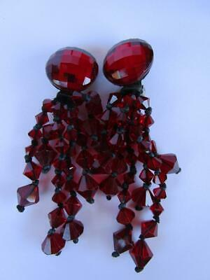 Vintage Ruby Red Faceted Glass Beads Waterfall Cascade Drop Dangle Earrings