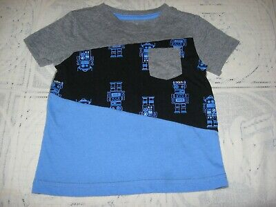 "Okie Dokie Infant Boy's Size 12 Months Short Sleeve Gray & Blue ""Robot"" T-Shirt"