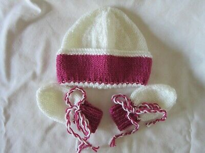 New hand knitted baby beanie and mittens 0-3 months