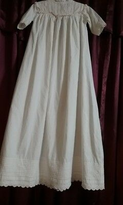 """Antique 1900's Edwardian Infant Baby Christening Gown Eyelet Lace 35.5"""""""