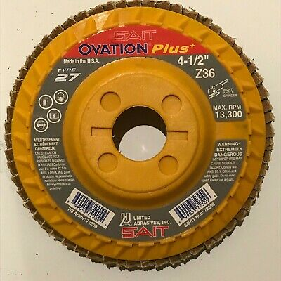 SAIT 70850 Trim Back Flap Disc with 4-1//2-Inch-Inch Diameter and 7//8-Inch Arbor United Abrasives 10-Piece