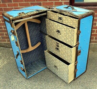 Art Deco antique P. Becker Chicago blue canvas fitted cabin ships trunk wardrobe
