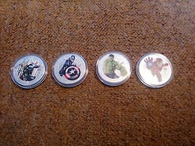 MARVEL'S 1oz Silver Plated Collector Coins CAPT AMERICA - HULK - IRON MAN - THOR