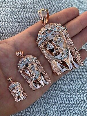 Solid 925 Silver 14k Rose Gold Finish Jesus Piece ITALY Necklace HIPHOP Real Icy