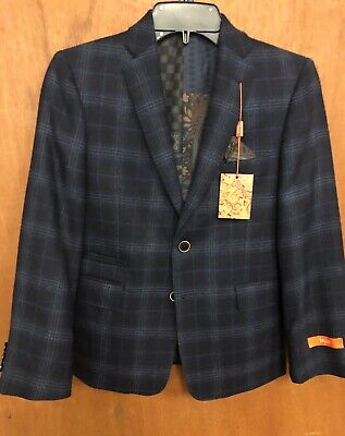 Tallia 2 Front Button Boys Blazer , Pocket With Handkerchief 100% Wool 12R NWT