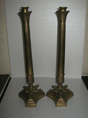 LARGE PAIR OF HEAVY ANTIQUE FRENCH  BRASS CANDLE STICKS 48cm HIGH