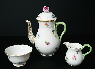 Herend KIMBERLY Small Coffee Pot Creamer and Open Sugar Bowl - PERFECT & RARE