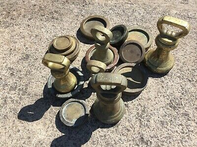 Victorian brass weights: 1lb, 8oz and 4oz - All With Weights & Measures Stamps