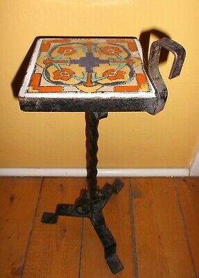 """Vintage Tudor Pottery 6"""" Tile Drink Cigarette Plant Stand Table In Wrought Iron"""
