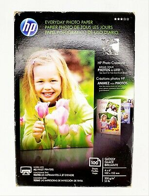 """Hp Everyday Photo Paper Glossy 4"""" X 6"""" 100 Sheets Inkjet Printers Quick Dry"""