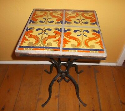 "Vintage 1928-39, D & M,  4, 6"" Tile Occasional Wrought Iron Table. EXCELLENT"