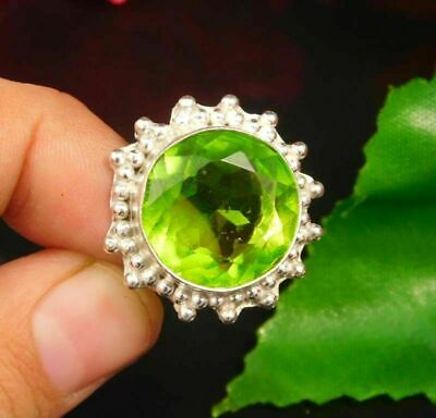 Lovely Peridot Quartz Silver Designer Jewelry Ring Size 7.75 JC377