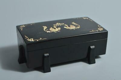 T3617: Japanese Wooden Lacquer ware CONTAINER Accessories Case Box