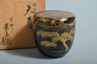 T3555: Japanese XF Wooden Lacquer ware TEA CADDY Natsume w/signed box