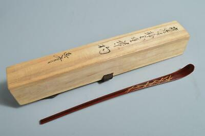 T3853:Japanese Wooden Lacquer ware Chashaku TEA SPOON for making w/signed box