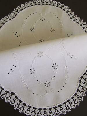 Gorgeous Vintage White on White Hand Embroidered Centre With Cutwork Pattern