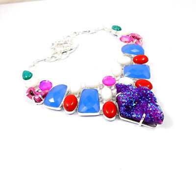 Multi Stone .925 Silver Plated Handmade Necklace Jewelry JC10195