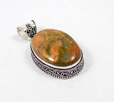 Unakite .925 Silver Plated Carving Pendant Jewelry JC7459