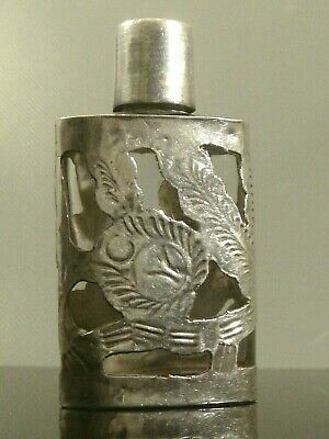 RARE Vintage 1950s DELFINO Taxco EAGLE 39 Chased STERLING SILVER Perfume Bottle