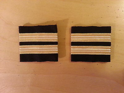 Two Bar Black Pilot Airline or Merchant Marine Epaulettes, Gold Strips Epaulette
