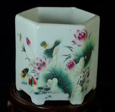 china old hand-made famille rose porcelain mandarin duck porcelain brush pot b02