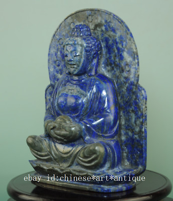collect old china lapis lazuli hand-made sculpture Avalokitesvara statue Bg01B