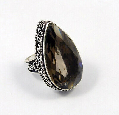 Smoky Topaz Quartz .925 Silver Plated Carving Ring Size-7.25 Jewelry JC6168