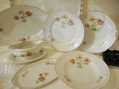 45 pce Art Deco Vintage Hand Painted Anemone Danish Dinner set for 10 people